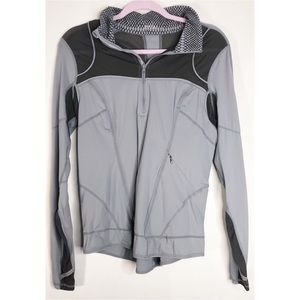 Zella L half zip grey long sleeve vinted mesh